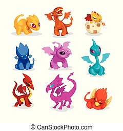 Set of colorful dragons in flat style. Cartoon characters of...