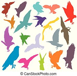 Set of colorful eagle silhouettes-2
