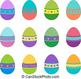 Set of colorful Easter eggs, vector illustration