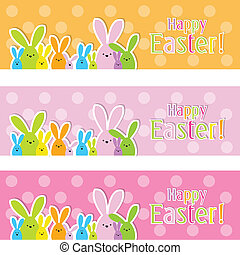 Set of colorful Easter web banners