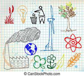 Set of colorful ecology hand-drawn icons