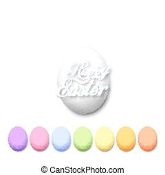 Set of colorful eggs isolated on white, vector illustation
