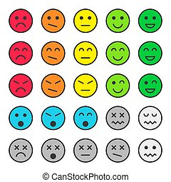 Set of colorful emoticons, faces icons. Vector illustration. Isolated on white background.