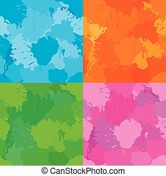 Set of colorful fabric patterns. Seamless backgrounds in grunge style.