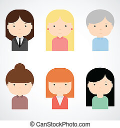 Set of colorful female faces icons. Trendy flat style. Funny...