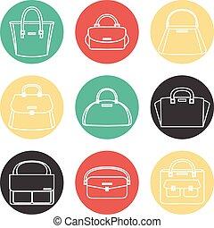Set of colorful female handbags illustration icons