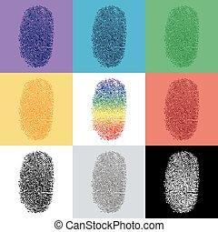 Set of colorful fingerprint