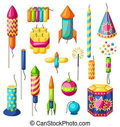 Set of colorful fireworks. Different types of pyrotechnics,...