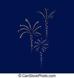 Set of colorful fireworks on dark blue background. Vector illustration.