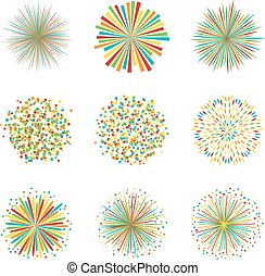 Set of colorful fireworks on white background, vector illustration