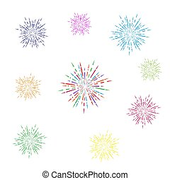 set of colorful fireworks. Simple design isolated on white background