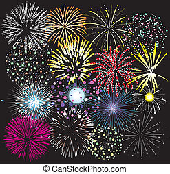 set of colorful fireworks