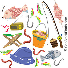 set of colorful fishing stuff