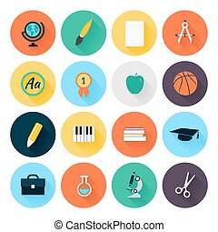 Set of colorful flat school and education icons
