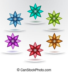 Set of colorful flower designs