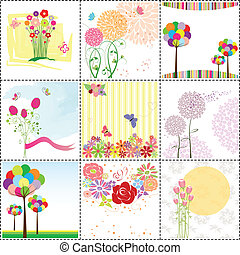 set of colorful flower greeting card