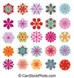Set of colorful flower icons