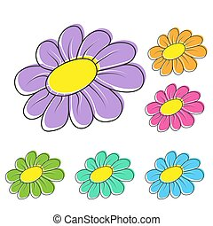 Set of colorful flowers for theme design
