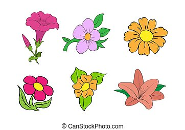 Set of colorful flowers. Simple design.