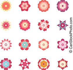 Set of colorful flowers, vector illustration