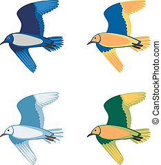 Set of colorful flying birds, vector illustration