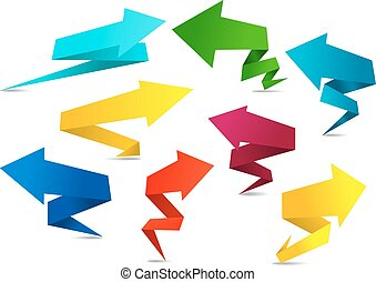 Set of colorful folded origami arrows - Set of colorful...