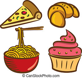 set of colorful food icon in doodle
