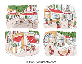 Set of colorful freehand drawings of sidewalk cafe or...