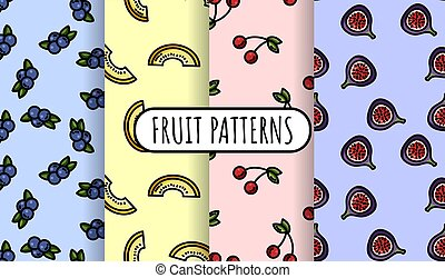 Set of colorful fruit seamless patterns. Flat design collection of background texture tiles