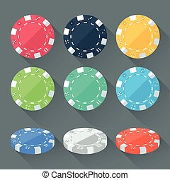 Set of colorful gambling chips