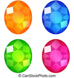 Set of colorful gems isolated on white