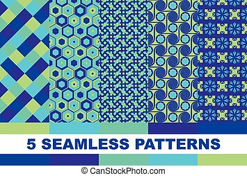 Seamless geometric background set. Patterns in blue tones. Vector Illustration
