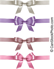 Set of colorful gift bows with ribbons. Vector illustration.