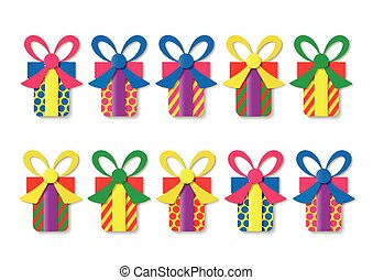 set of colorful gift boxes. Vector illustration.