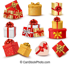 Set of colorful gift boxes with bows and ribbons. Vector
