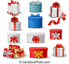 Set of colorful gift boxes with bow