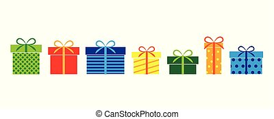 set of colorful gifts present for birthday and christmas