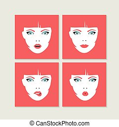 Set of colorful girl faces concept illustration