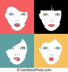 Set of colorful girl faces concept illustrations