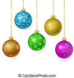 set of colorful glass christmas tree balls hanging on gold eyelets