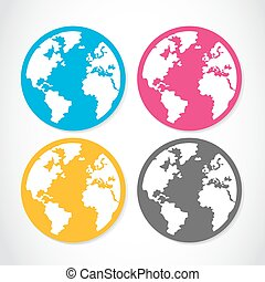 set of colorful globe stickers