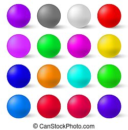 Set of colorful glossy spheres isolated . A Realistic Collection to Create Your Design