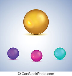 Set of colorful glossy spheres isolated on white.