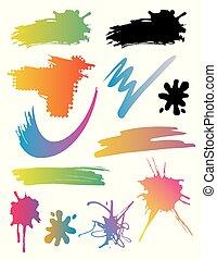 Brush strokes, spots, splatters.