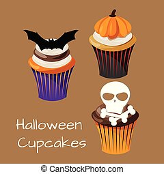 Set of colorful Halloween Cupcakes.
