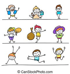 set of colorful hand drawing cartoon happy kids