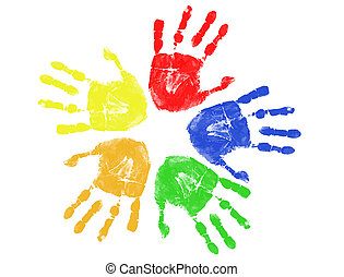 colorful hand prints - Set of colorful hand prints isolated ...