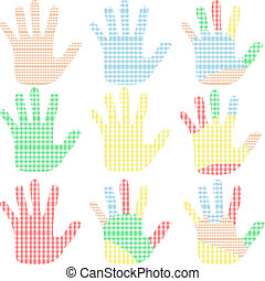 set of colorful hand prints isolated on white Vector