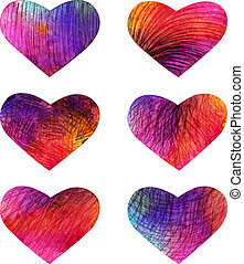 Set of colorful hearts. Vector, EPS 10