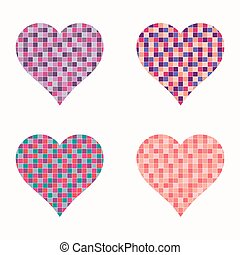 Set of colorful hearts, vector illustration